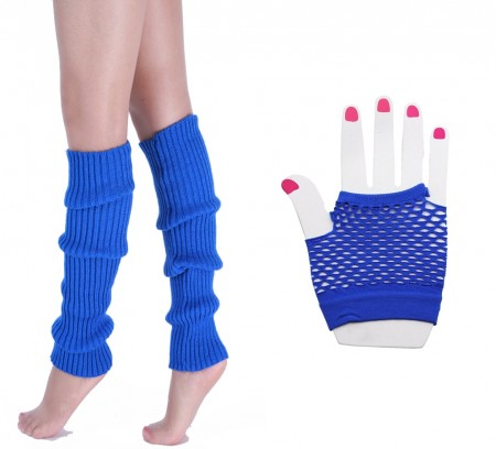 Blue 80s Neon Fishnet Gloves Leg Warmers Accessory Set