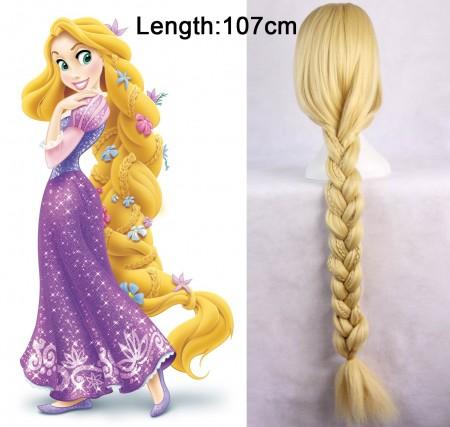 Rapunzel Disney Princess Tangled Story Book Week Adult Women Long Blonde Braid Hair Costume Wig
