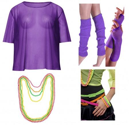 Purple Neon Fishnet Vest Top T-Shirt 1980s Costume  Plus Beaded Necklace Bracelet  legwarmers gloves