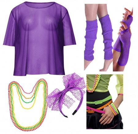 Purple Neon 1980s Costume