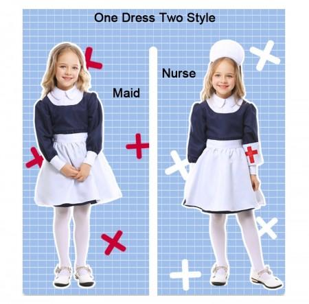 Kids Girls Victorian Maid Nurse Occupation Uniform Hospital Vet Book Week Costume