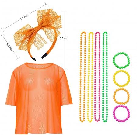 Orange Neon Fishnet Vest Top Set lx3013-4tt1017tt1050tt1048-10