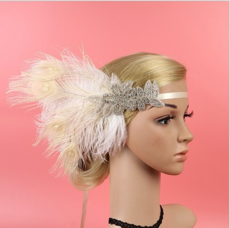 20s White Feather The Great Gatsby Flapper Headpiece