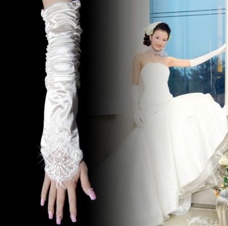 White Gloves Over Elbow Length Wedding Costume Accessories