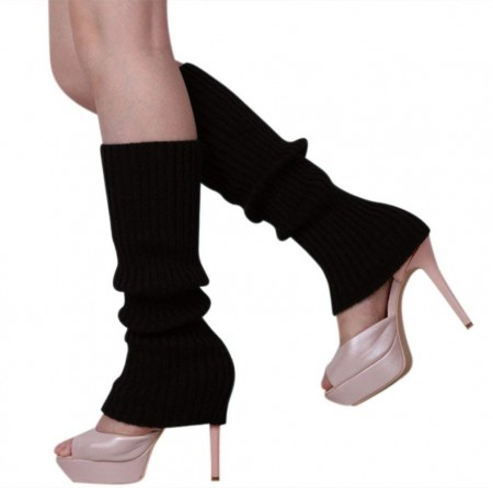 Black Womens Pair of Party Legwarmers Knitted Dance 80s Costume Leg Warmers