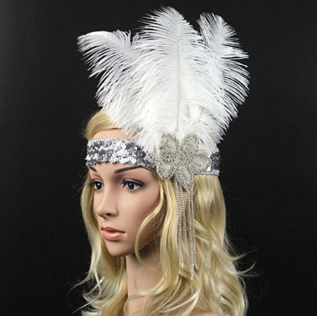 1920s White Feather Bridal Flapper Headpiece