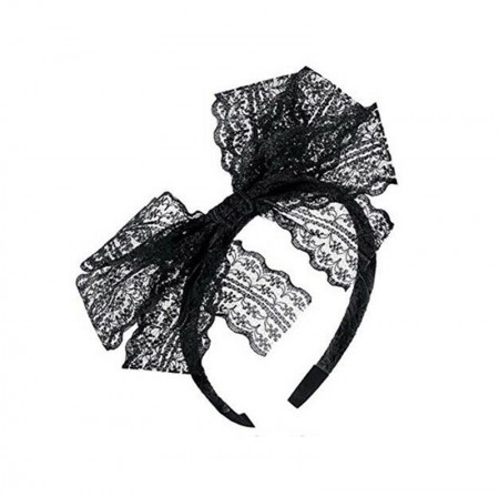 80s Party Lace Headband Black