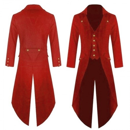 Red STEAMPUNK TAILCOAT COSTUME JACKET Magician