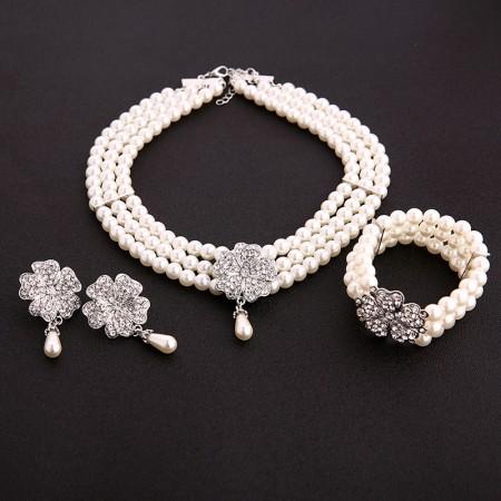 1920s Necklace Pearl Bracelet Earrings Set