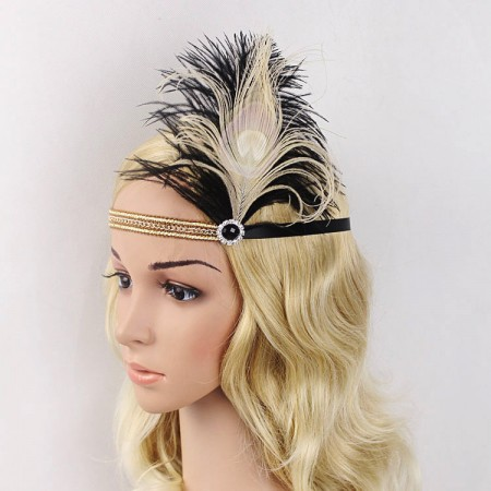 Vintage Black Gatsby Flapper Headpiece