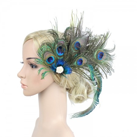 1920s Headband Peacock Feather Vintage