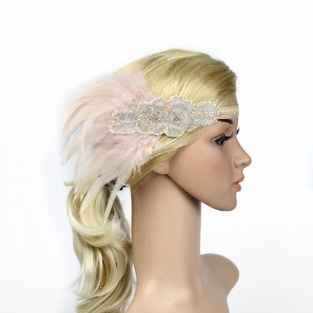 1920s Pink Feather Vintage Bridal Great Gatsby Flapper Headpiece