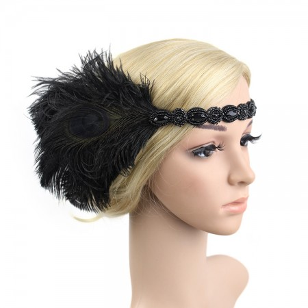 1920s Black Feather Vintage Great Gatsby Flapper Headpiece