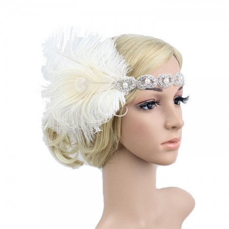20s White Feather Bridal Great Gatsby Flapper Headpiece