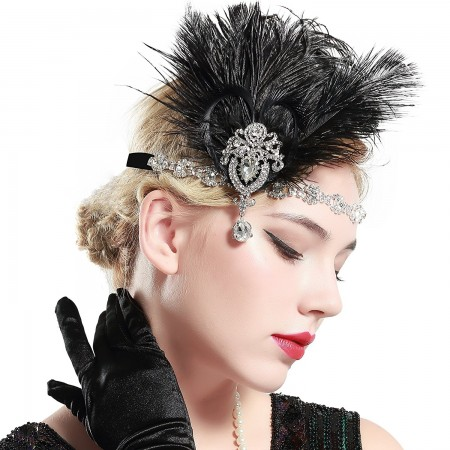 1920s Headband Black Feather Gangster Flapper Headpiece