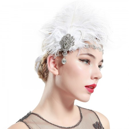 1920s Headband White Feather Gatsby Flapper Headpiece
