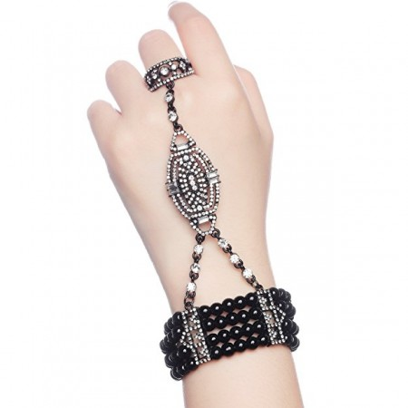 Black 1920s Vintage Bracelet Great Gatsby Flapper