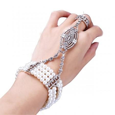 Ladies Silver 1920s Vintage Great Gatsby Flapper Bracelet