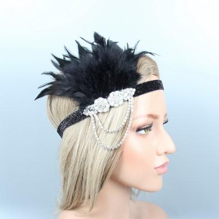 20s Black Feather Vintage Gatsby Flapper Headpiece