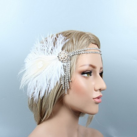 Ladies 20s White Feather Great Gatsby Flapper Headpiece