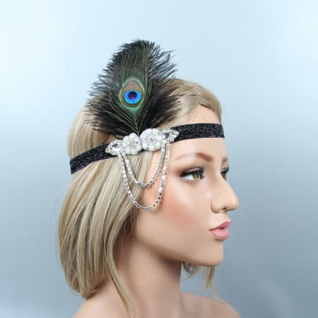 Flapper 20s Headband Feather Gatsby Headpiece
