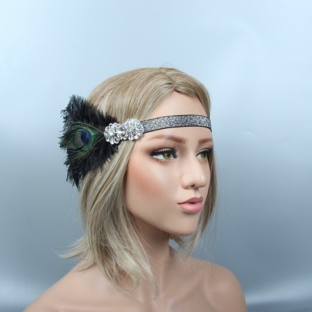 Ladies Black Feather Gangster Gatsby Flapper Headpiece