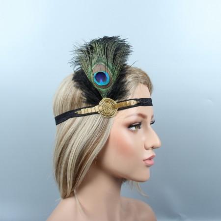 Ladies 20s Headband Feather Vintage Gatsby Flapper Headpiece