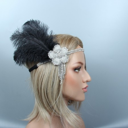 Ladies 1920s Headband Feather Vintage Bridal Great Gatsby Flapper Headpiece