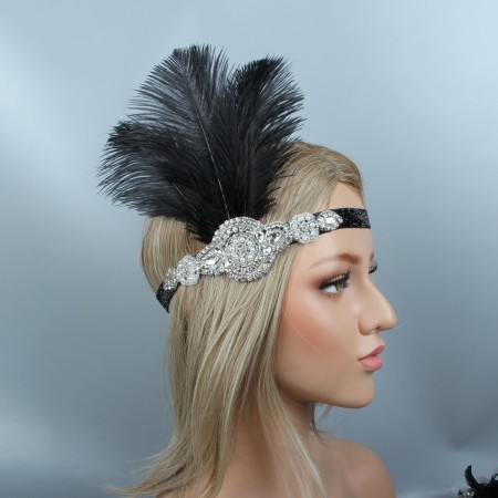 1920s Headband Black Feather Flapper Headpiece
