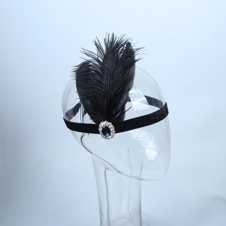 1920s Headband Black Feather Gatsby Flapper Headpiece