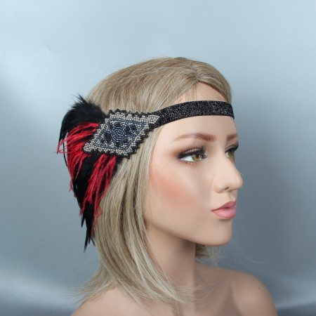 1920s Headband Red Feather Vintage Great Gatsby Flapper Headpiece