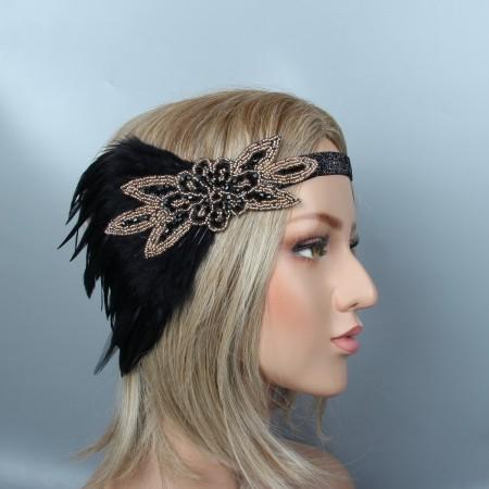 1920s Headband Feather Gatsby Flapper Headpiece