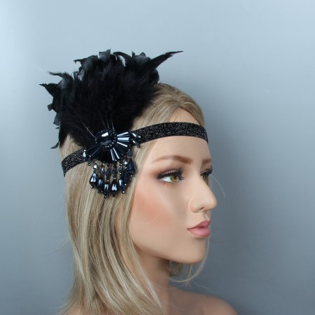 1920s Headband Feather Great Gatsby Flapper Headpiece