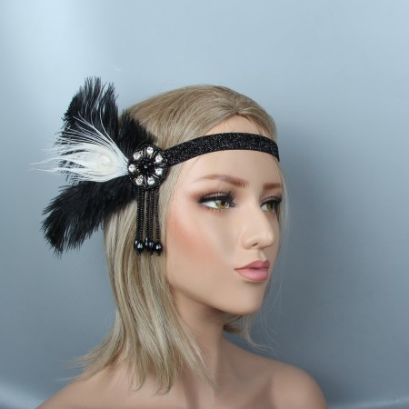 Ladies 20s Headband Feather Gatsby Flapper Headpiece