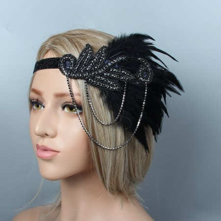 1920s Black Great Gatsby Flapper Headpiece