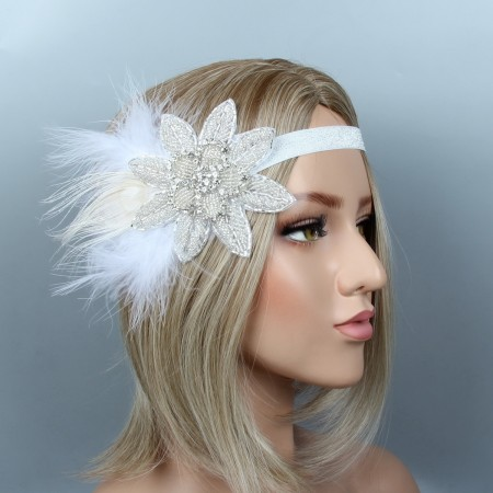 1920s Gangster Feather The Great Gatsby Flapper Headpiece