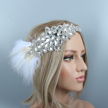 1920s White Feather Crystal Great Gatsby Flapper Headpiece