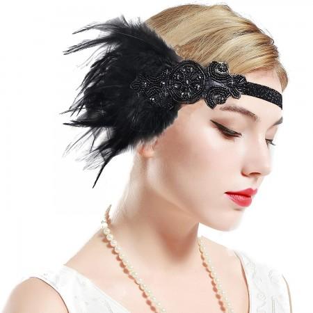 1920s Headband Black Feather Vintage Great Gatsby Flapper Headpiece