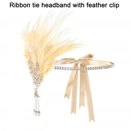 1920s Feather Great Gatsby Flapper Headpiece