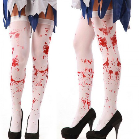 Tight High Stockings White Bloody Blood Stained Socks Gothic Scary Nurse
