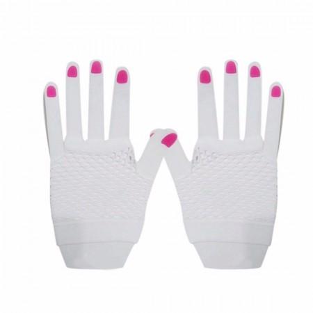 White Fishnet Gloves Fingerless Wrist Length 70s 80s Women's Neon Party Dance