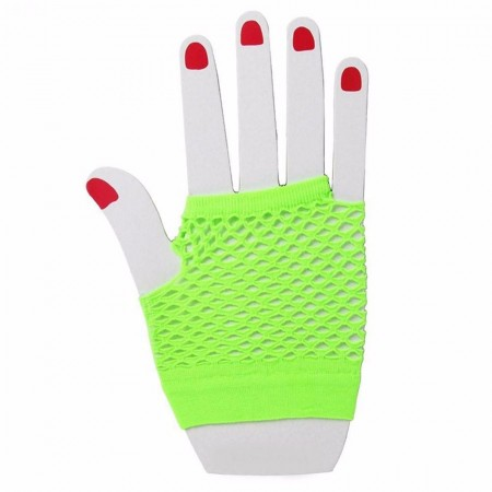 Green Fishnet Gloves Fingerless Wrist Length 70s 80s Women's Neon Party Dance