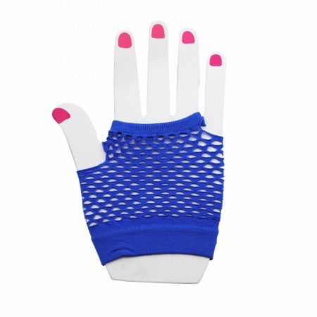 Blue Fishnet Gloves Fingerless Wrist Length 70s 80s Women's Neon Party Dance