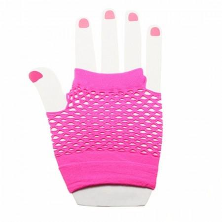 Pink Fishnet Gloves Fingerless Wrist Length 70s 80s Women's Neon Party Dance