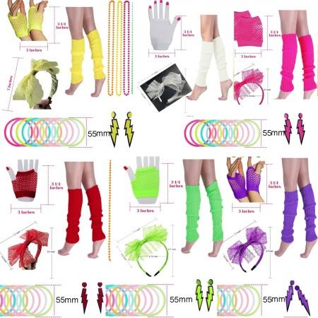 Womens 80s Costume Accessories Set tt1047lx3007lx3019tt1017tt1048tt1059