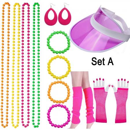 80s Neon Bracelet Necklace Bow Headband Fishnet Gloves Lighting Earring Leg Warmers