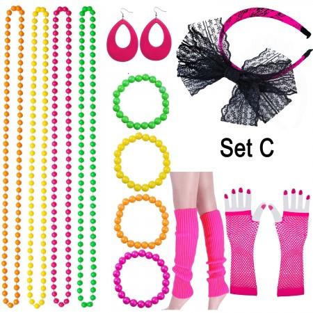 Pink 80s Neon Bracelet Necklace Bow Headband Fishnet Gloves Lighting Earring Leg Warmers