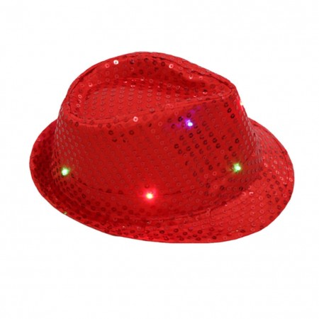 Adults Red LED Light Up Flashing Sequin Hat