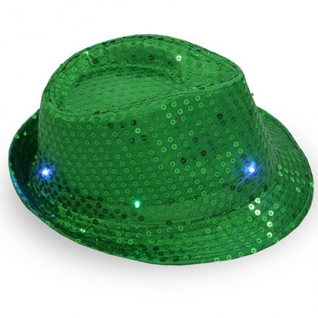 Adults Green LED Light Up Flashing Sequin Costume Hat