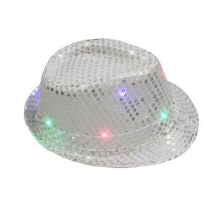 Adults Silver LED Light Up Flashing Sequin Costume  Hat